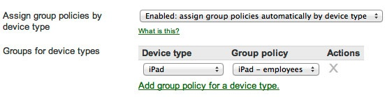 Assign group policies by device type